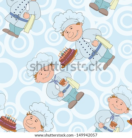 Seamless background, cooks with sweet cake and cup of drink. - stock photo