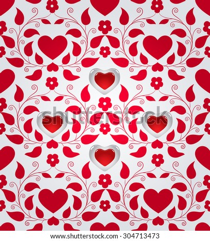 Seamless background for Valentine's day - stock photo
