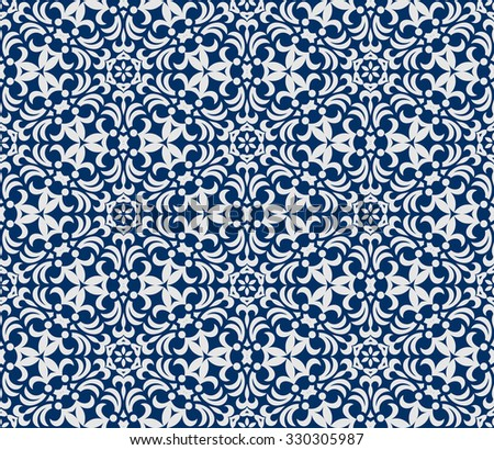 Seamless background in Arabic style. white blue wallpaper with patterns for design. Traditional oriental decor - stock photo