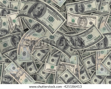 Seamless background made of dollar banknotes - pile of money. 3d rendering - stock photo