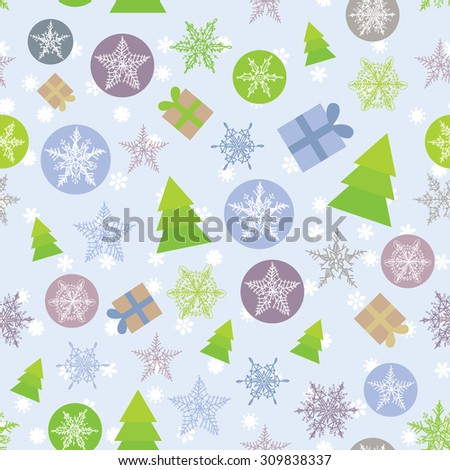Seamless background Merry Christmas Card, green, lilac and purple.  - stock photo