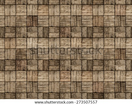 Seamless background of an old, weathered, parquet style, wooden deck with alternating woodgrain pattern. - stock photo