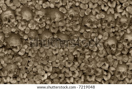 Seamless background of skulls and bones in the Chapel of Bones in Evora, Portugal. Tan tainted. - stock photo