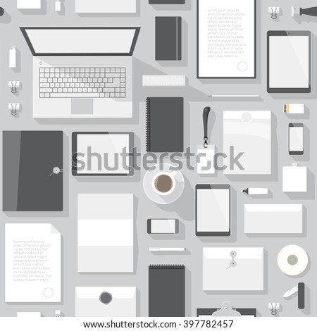 Seamless background pattern for business. Stationery office objects and computer devices. - stock photo