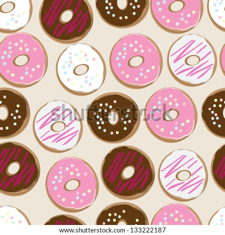 Seamless background pattern of assorted doughnuts, or donuts, with chocolate, white and pink iced ones covered in sprinkles scattered randomly on a white background - stock photo