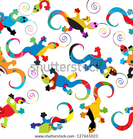Seamless background pattern with gecko made of circles. Raster version. - stock photo