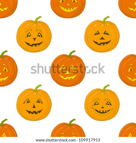 Seamless background, symbol of the holiday of Halloween pumpkins Jack O Lantern, isolated on white - stock photo