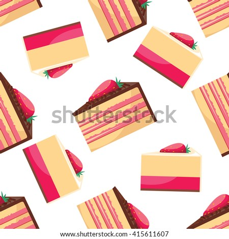 Seamless background with a pattern of delicious strawberry cupcake with pink whipped cream isolated on polka dot background. Delicious desserts. Fresh bakery. Can be used for wallpaper. design - stock photo