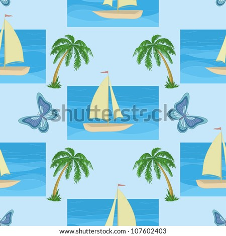 Seamless background with a sailboat at sea, tropical palms and butterflies - stock photo