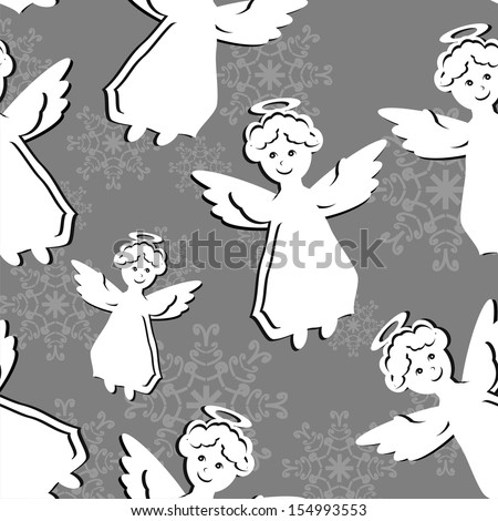 seamless background with angels - stock photo