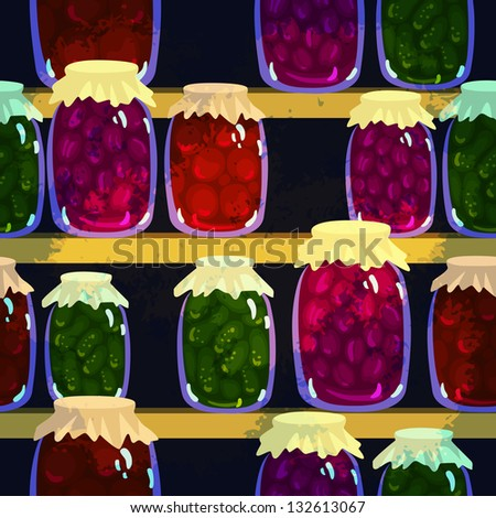 Seamless background with canned vegetables and fruits in pots - raster version - stock photo