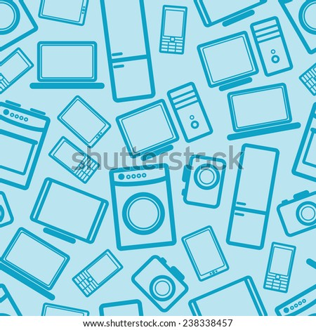 seamless background with electronic devices  - stock photo