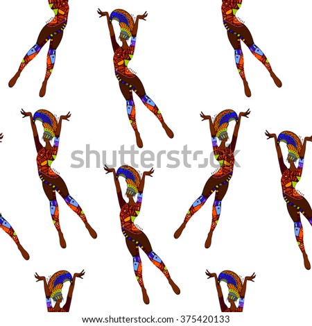 seamless background with ethnic ballet - stock photo
