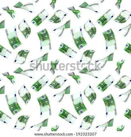 Seamless background with flying euro banknotes. Isolated over white - stock photo