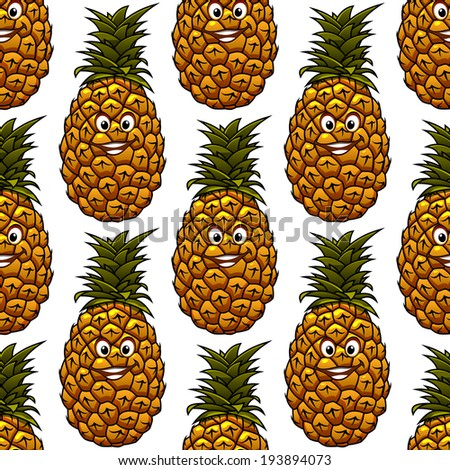 Seamless background with funny cartoon happy pineapple character, on white background. Vector version also available in gallery - stock photo