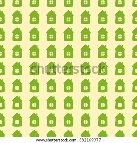 Seamless background with green cartoon style houses isolated on flaxen background. Textile, wrapping paper, wallpaper, boxes decoration, other packing elements template - stock photo