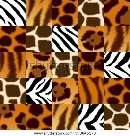 Seamless background with illustration of fluffy skin wild animal: jaguar; leopard; cheetah; giraffe; tiger; zebra. Endless texture can be used for pattern fills, web page background, surface textures - stock photo