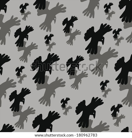 Seamless background with pairs of the flying crows. - stock photo