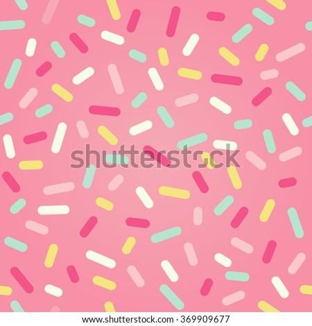 Seamless background with pink donut glaze and many decorative sprinkles. Raster version - stock photo