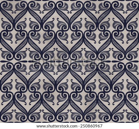 Seamless background with retro pattern. floral ornament - stock photo