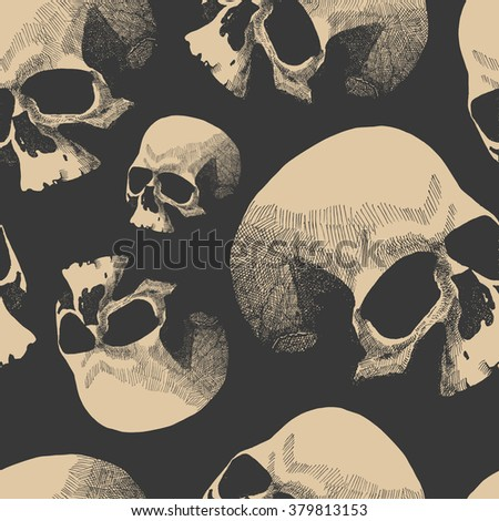 Seamless background with skull. Jpeg version. - stock photo