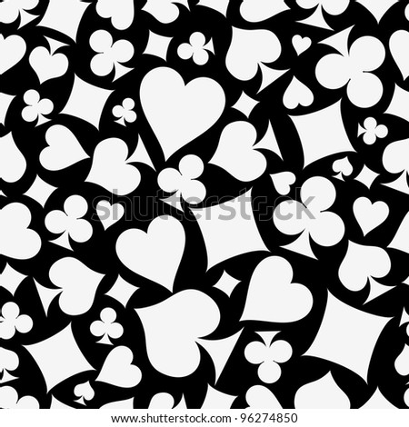 Seamless background with suits black and white: hearts, diamonds, clubs, spades. Vector illustration. - stock photo
