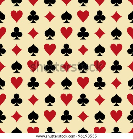 Seamless background with suits: hearts, diamonds, clubs, spades. Illustration - stock photo