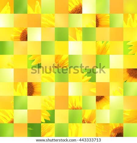 Seamless background with sunflower patterns of green, yellow, orange colors. Endless texture can be used for wallpaper, pattern fills, web page background, surface textures - stock photo
