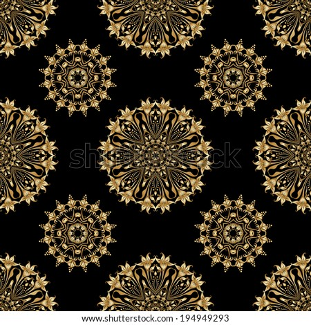 Seamless background with vintage floral elements. Gold on the black. Raster version. - stock photo