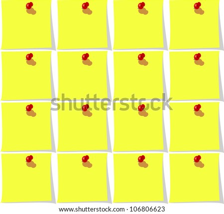 Seamless background with yellow paper and pin for office design. Vector version also available in gallery - stock photo