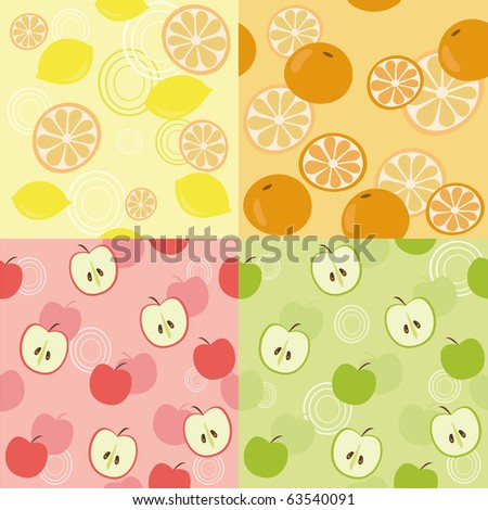 Seamless backgrounds with fruits - stock photo