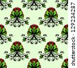 Seamless baroque floral ornament with red berries. Raster version of the vector image - stock photo