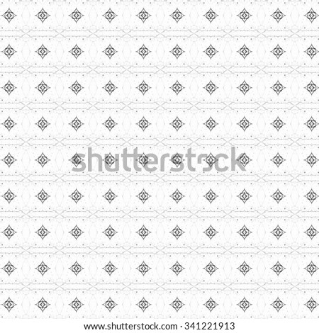 Seamless black and white ornamental pattern in arabic style  - stock photo