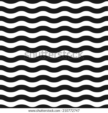 Seamless black and white wave pattern - stock photo
