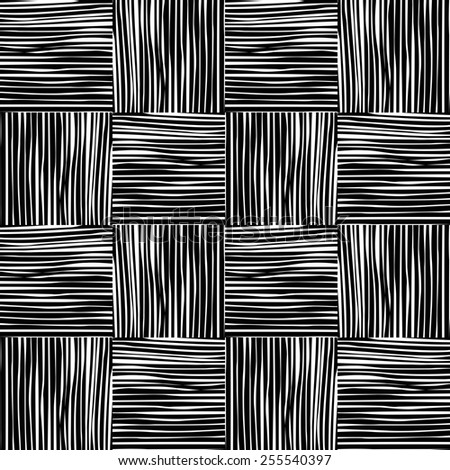 Seamless black and white weave texture.Grunge illustration background - stock photo
