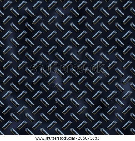 Seamless blue diamond plate background texture. - stock photo