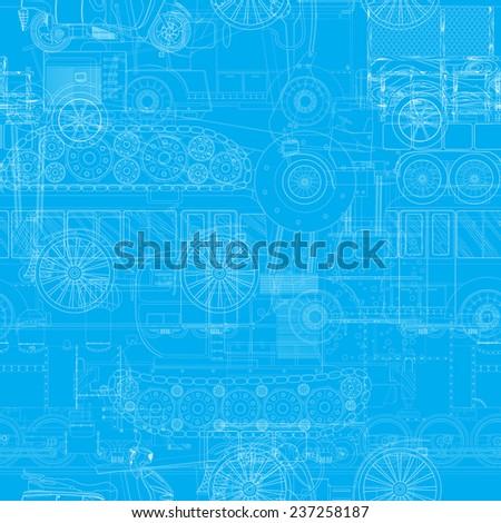 Seamless blueprint pattern with vehicles, machines - stock photo