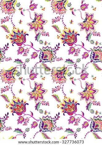 seamless bohemian pattern. Ethnic flowers, folk elements, vibrant textured pencil illustration on white background. Artistic design for fashion or interior, trendy, colorful.  - stock photo