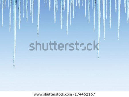 Seamless border with icicles on blue sky - stock photo