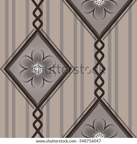Seamless brown diamond pattern wallpaper background. - stock photo