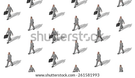 Seamless businessman pattern in different poses in grey suits 3d illustration - stock photo