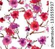 Seamless Cherry Blossom Pattern - stock photo