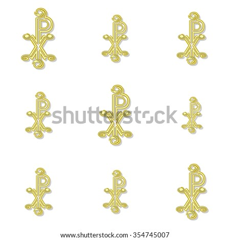Seamless CHI RHO pattern in yellow spectrum on white background - stock photo