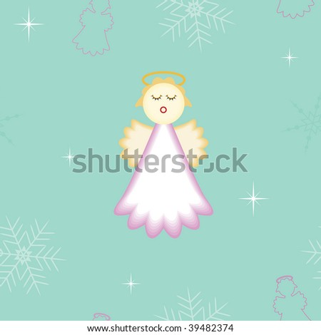 seamless Christmas angel background. vector also available. - stock photo