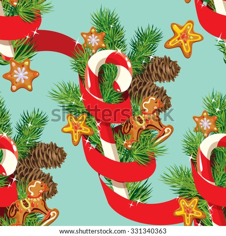 Seamless christmas pattern with  xmas gingerbread, candy, red ribbon and fir tree branches. Background for Christmas and New Year holidays design. Raster version - stock photo