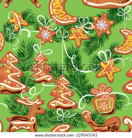 seamless christmas pattern - xmas gingerbread on green background - cookies in reindeer, star, moon and fir-tree shapes. Raster version - stock photo