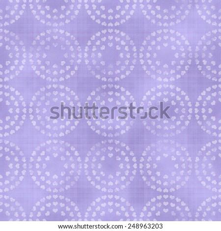 Seamless Circle Hearts Pattern - stock photo