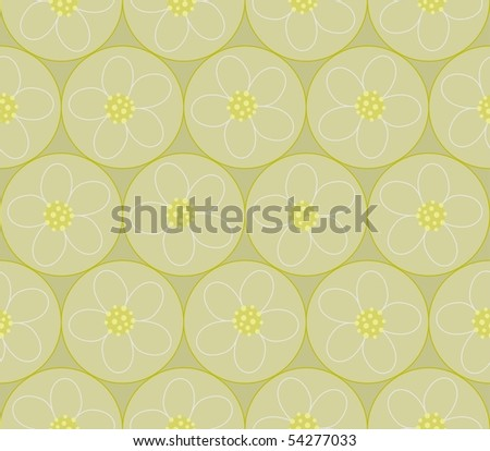 Seamless circles with flowers - stock photo