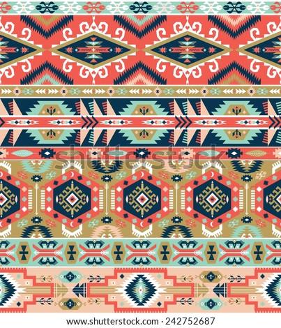 Seamless colorful aztec pattern - stock photo