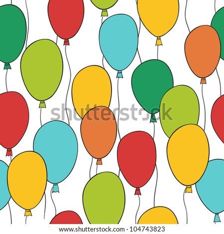Seamless colorful balloon pattern - stock photo